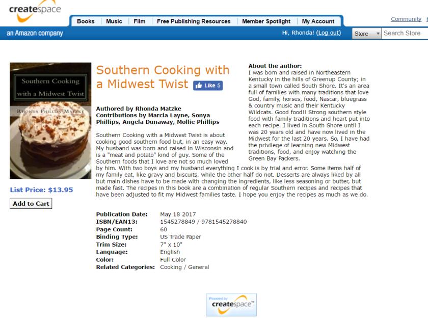create space cookbook sale